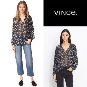 Vince Silk Calico Blouse Sheer Flowy
